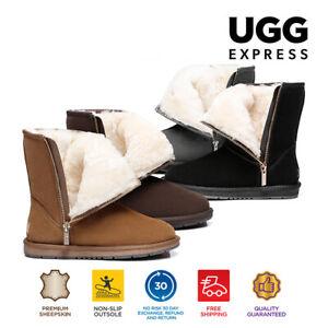 【EXTRA15%OFF】UGG Unisex Short Zipper Australian Genuine Sheepskin Wool