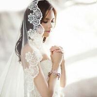 EB_ BH_ Elegant White Ivory Cathedral Length Lace Edge Bride Wedding Bridal Long