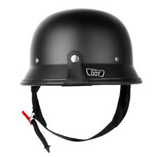 DOT Motorcycle Matte Black German Half Face Helmet Chopper Cruiser Biker M Size