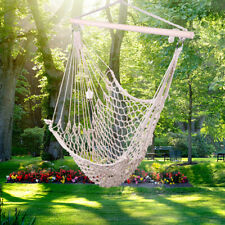 Outdoor Patio Cotton Hanging Rope Chair Camping Hanging Chair Beige Us Stock