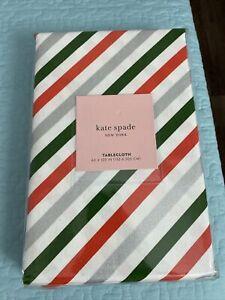 "NWT Kate Spade New York Candy Cane Diagonal Stripe 60"" X 120"" Tablecloth"
