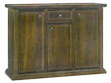 Contro mobile basso credenza in arte povera legno massello, con ante e cassetto