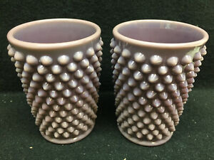 pair of purple milk Hobnail pattern glass tumblers cups goblets set water coffee