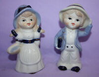 Vintage Blue/ White Mini Porcelain Bisque Boy and Girl Figurines
