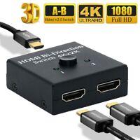 HDMI 2.0 HDTV Cable Switch Switcher Splitter Bi-Direction Hub HDCP 2x1 1x2 AU