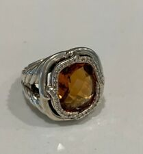David Yurman cocktail ring, size 6.5, Labyrinth ring with citrine and diamonds