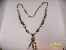 Brand new hand strung Multicolor Jade bead necklace, 30 inches.