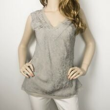 Womens Witchery Grey Silk Beaded Sleeveless Blouse Size 12 Evening Occasion