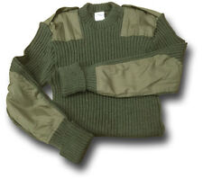 ARMY / NATO MILITARY GREEN WOOLLY PULLY JUMPER 100% WOOL WITH EPAULETTES [16002]