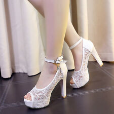 Womens Lace Peep Toe Ankle Straps Block Heel Sandals Summer Bridal Shoes Plus Sz