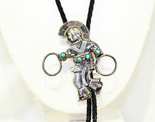 Turquoise & Sterling Silver Bolo Tie Native American Dancer Men's 1940s Western