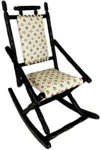 Antique Vintage Kids Child Size Wood Rocking Chair Black & Victorian Upholstery