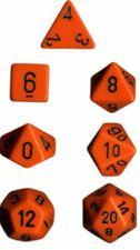 Chessex Dice Polyhedral 7 Die Set - Opaque Orange / Black - DND / Roleplay etc