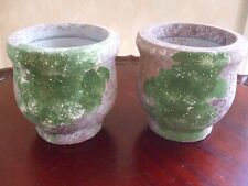 "Cement Planters Pots Green Plume Color Small Round 4.5"" x 4.5"" Pair New"