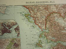 1907 DATED MAP BALKAN PENINSULA TURKEY RUMANIA SERBIA BULGARIA ATHENS