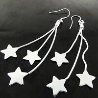 Drop Earrings Real 925 Sterling Silver S/F Ladies Hook Long Dangly Star Design