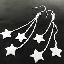EARRINGS GENUINE REAL 925 STERLING SILVER S/F LADIES HOOK LONG DROP STAR DESIGN