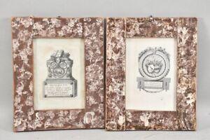 k65r14- Paar alte Kupferstiche, Ex Bibliotheca, bezeichnet, mit Wappen