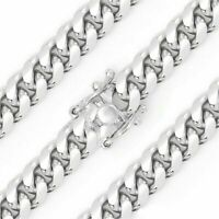 925 Sterling Silver Solid Miami Cuban Curb Link Chain 5mm Necklace Rhodium New
