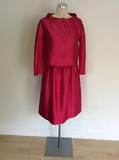 BNWT MAX MARA HOT PINK SILK & COTTON DRESS & JACKET SUIT SIZE 10