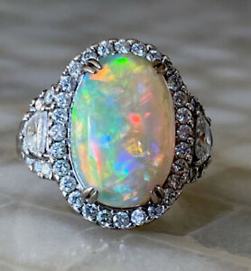 Stunning Rare 18KWG Black Opal & Diamond Ring Amazing Color Play and Top Quality