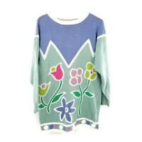 VTG Pullover Sweater Easter Pastel Flowers Floral Hand Knit Colorful Sz L Large