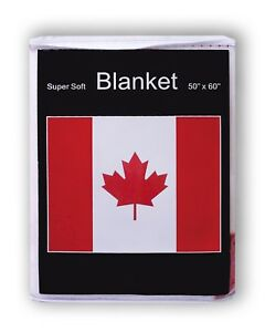 "Canadian Flag Fleece Blanket *NEW* 50"" x 60"" Canada Travel Throw NHL l'Unifolié"