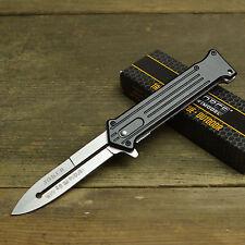 "Joker 8"" Spring Assisted Open Blade Stiletto Folding Pocket Knife Batman Satin"