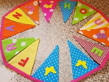 PERSONALISED BUNTING- LOVELY BRIGHT COLOURS & BUTTERFLIES -£1 PER FLAG, FREE P&P
