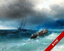 INCOMING STORM OVER BLACK SEA SHIPS SAILBOAT SEASCAPE PAINTING ART CANVAS PRINT