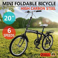 "20"" Mini Folding Bike 6 Speed Foldable Bicycle Cycling Road Outdoor Fold Storage"