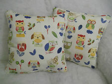 "PRESTIGIOUS STUNNING COTTON FABRIC OLLIE OWL 1 PAIR OF 18"" CUSHION COVERS"