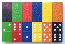 Dominoes Wooden - 168 Tiles in 6 colours. Strong durable storage tub. Maths Game