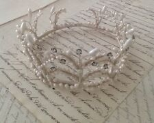 Antique French Pearl & Rhinestone Crown Tiara