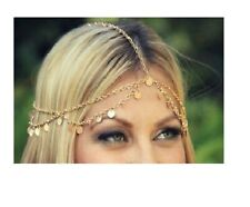 Hippie Retro Gold Coin Disc Tassel headband head piece chain elastic hair band