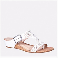 New Women's Cloudwalkers White Perforated T Strap Slide Sandal Wide Width