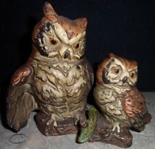 Vintage Hand Painted Ceramic Horned Owls Bird Figurine Curio Item Collectible