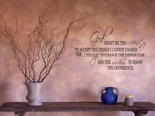 "SERENITY PRAYER Home Bedroom Vinyl Wall Decal Lettering Saying Words 16"" x 8"""
