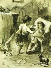 Davis KEEPING HOUSE BIG SISTER 1873 Antique Art Matted