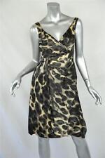 PRADA *SILK LEOPARD PRINT*Sleeveless V-Neck EVENING DRESS Draped/Pleated 2