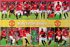 "MANCHESTER UNITED ""18 SHOTS OF 2014 PLAYERS"" POSTER-Soccer, UEFA League Football"
