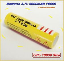 Batteria 18650 Ricaricabile Litio 5000mAh 3,7v Torcia Softair Power Bank