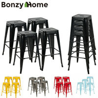 "30"" Set of 4 Metal Bar Stools Counter Industrial Farmhouse Stackable Chairs"
