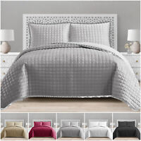 3 Piece Embossed Quilted Bedspread Bed Throw Bedding Set With 2 Pillow Shams