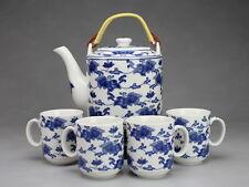 Teeservice Porzellan Blumenornament asiatische Keramik Geschirr blau-weiß 1750ml