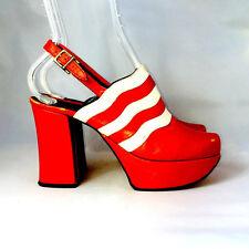 70s Vintage Platform Shoes Red Leather Pumps Maximo Size 6.5