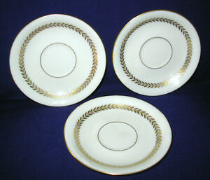 lot 3 Lenox Imperial saucer  P338 china 5.75 inch diameter ivory gold USA