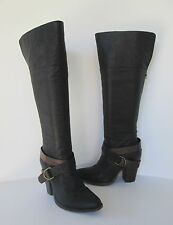 Steve Madden Womens Black Leather Rockiie Over? the Knee High Strappy Boots 8.5