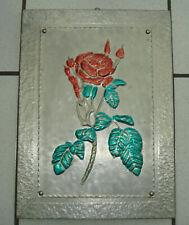 Zinn Relief-Bild Zinnbild Wandbild Handarbeit ROSE 41 x 30 cm auf Holzplatte