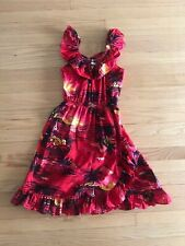 Girls Red Ruffle Off Shoulder Authentic Hawaiian Sun Dress Sz 12 Made In Hawaii
